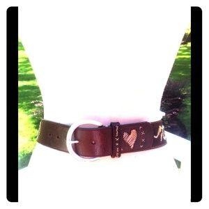 Brighton Brown Leather Straw Heart Saddle Belt